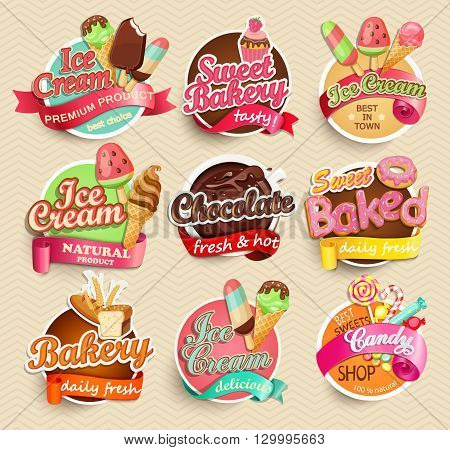 Food Label or Sticker - bakery, ice-cream, chocolate, sweet baked, candy, sweet bakery - Design Template. Vector illustration.