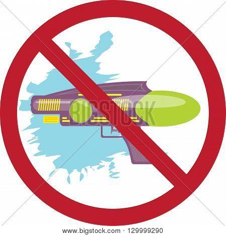 prohibition sign colorful water gun kids toy cartoon illustration