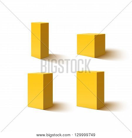 Set of four 3d yellow blank boxes. Box icons for your projects. Box designs. Vector illustration.