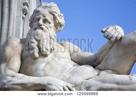 The Sebeto Fountain was built in 1635. The statue of an old man represents the river Sebeto which formerly coursed through the center of Naples.