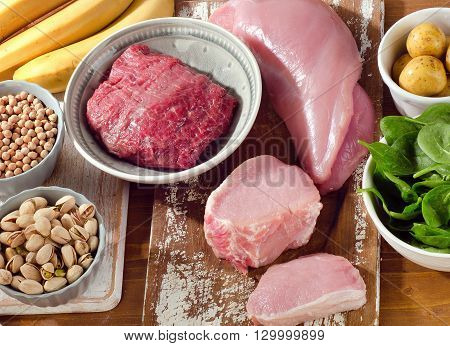 Foods Highest In Vitamin B6 On  Wooden Background.