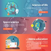 Science of life. Biology. Astronomy. Science of space. Earth in galaxy. Home education. Self education. Reading books. Education and science banners set. Vector design concept. poster