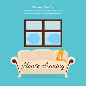 House cleaning. Cat on sofa design flat. Clean house service, housework and home cleaning, domestic cleaning service, clean room vector illustration poster