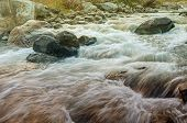 Beautiful Reshi River water flowing through stones and rocks at dawn Sikkim India. Reshi is one of the most famous rivers of Sikkim flowing through the state and serving water to many local people. poster