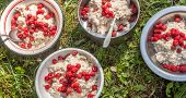 hikers breakfast porridge with raspberry on background of green grass poster