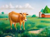 a cow in a sunny farm landscape. hand painted illustration. poster