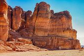 The Solomons Pillars geological and historical place in Timna Park near to Eilat Israel. The first copper mines in the history and the Hathor temple were here. poster