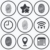 Clock, wifi and stars icons. Fingerprint icons. Identification or authentication symbols. Biometric human dabs signs. Calendar symbol. poster