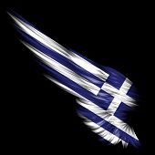 The Abstract wing with Greece flag on black background poster