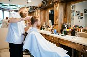 Hair beard and mustache treatment in barber shop poster