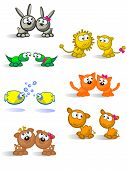 Comical pair of cute animals of each species. White background. Male and female isolated. poster