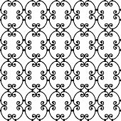 Forged seamless pattern. Elegant red curly forging on white background. Openwork metal fence design. Modern style for wallpaper wrapping fabric background apparel other print production. Vector poster