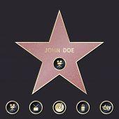Walk of fame star with emblems symbolize five categories. Star hollywood, famous star sidewalk, emblem star boulevard, actor star illustration poster