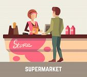 Supermarket store assistant, cashier woman at cash register and customer. Store cashier, sale assistant store, supermarket store, retail store, service store. Vector illustration poster