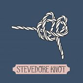Single illustration of nautical knot. Stevedore Knot. Sailor knot. Nautical rope sign. Artistic hand drawn element. Marine rope knot. Tying the knot. Graphic design element for invitations, cards poster