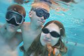 family underwater pool poster