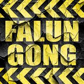Falun gong, black and yellow rough hazard stripes poster