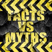 facts vs myths, black and yellow rough hazard stripes poster