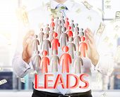 Lead generation with businessman and staff icons. potential client consept. Business man hold leads. poster