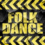 folk dance, black and yellow rough hazard stripes poster