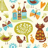 Kids seamless pattern with fairy animals and elements poster