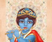 Illustration of hindu deity Shri Krishna playing the flute. Happy Janmashtami. poster