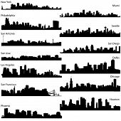 Detailed vector silhouettes of USA biggest cities poster