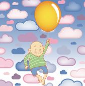 Vector - Young Child boy with balloon with Clouds Background poster