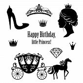 Princess Cinderella set collections. Crowns, diadem, carriage, woman profile, high-heeled shoe, text in black color. Vector illustration. Isolated on white background. For birthday card design poster