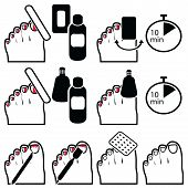 Gel, hybrid nails  pedicure removal icons in colour poster