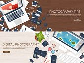 Photographer equipment on a table. Photography tools, photo editing, photoshooting flat background.  Digital photocamera with lens. Vector illustration. Wood. Wooden. poster