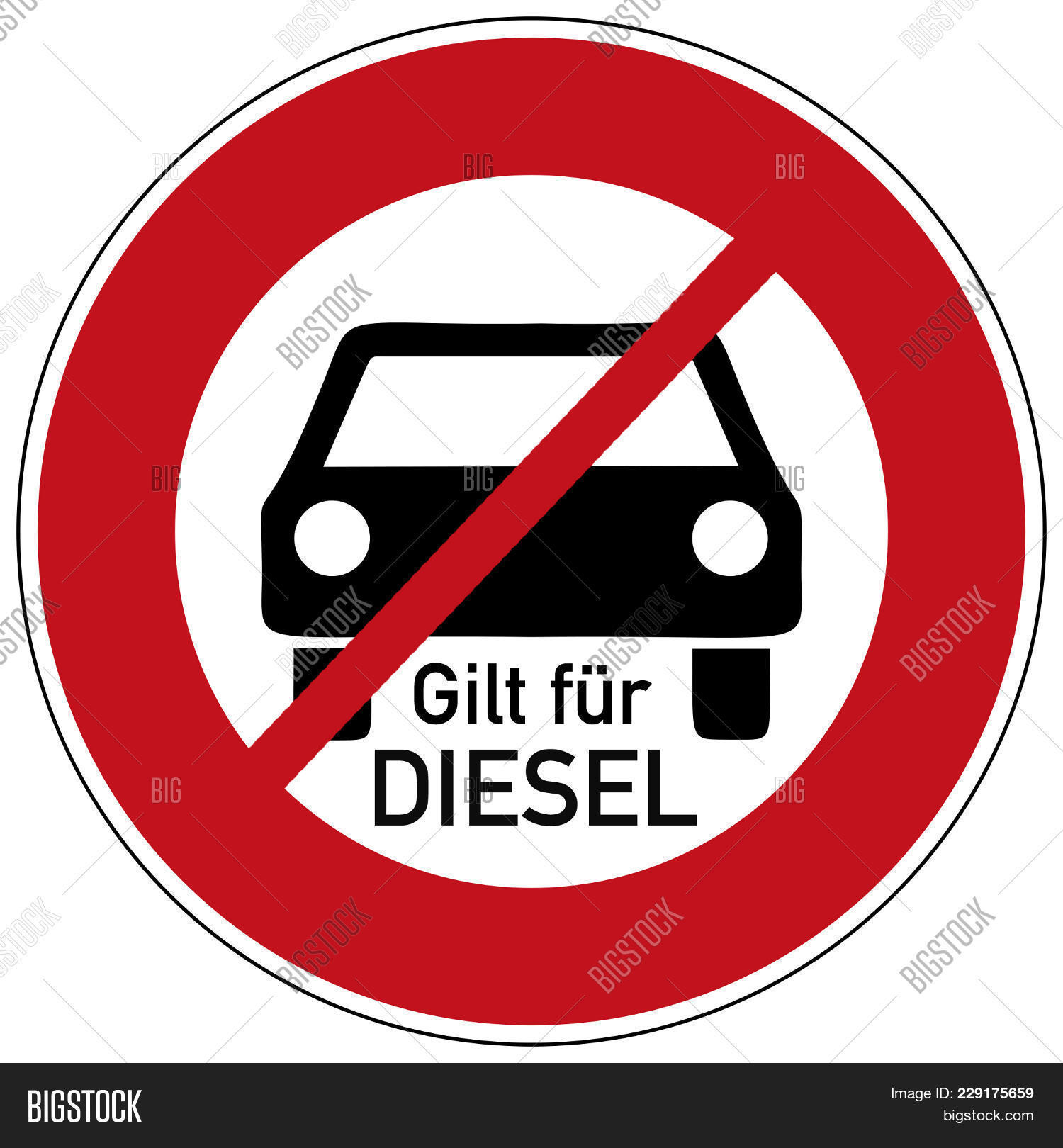 German Traffic Sign Diesel Driving Image Photo Bigstock