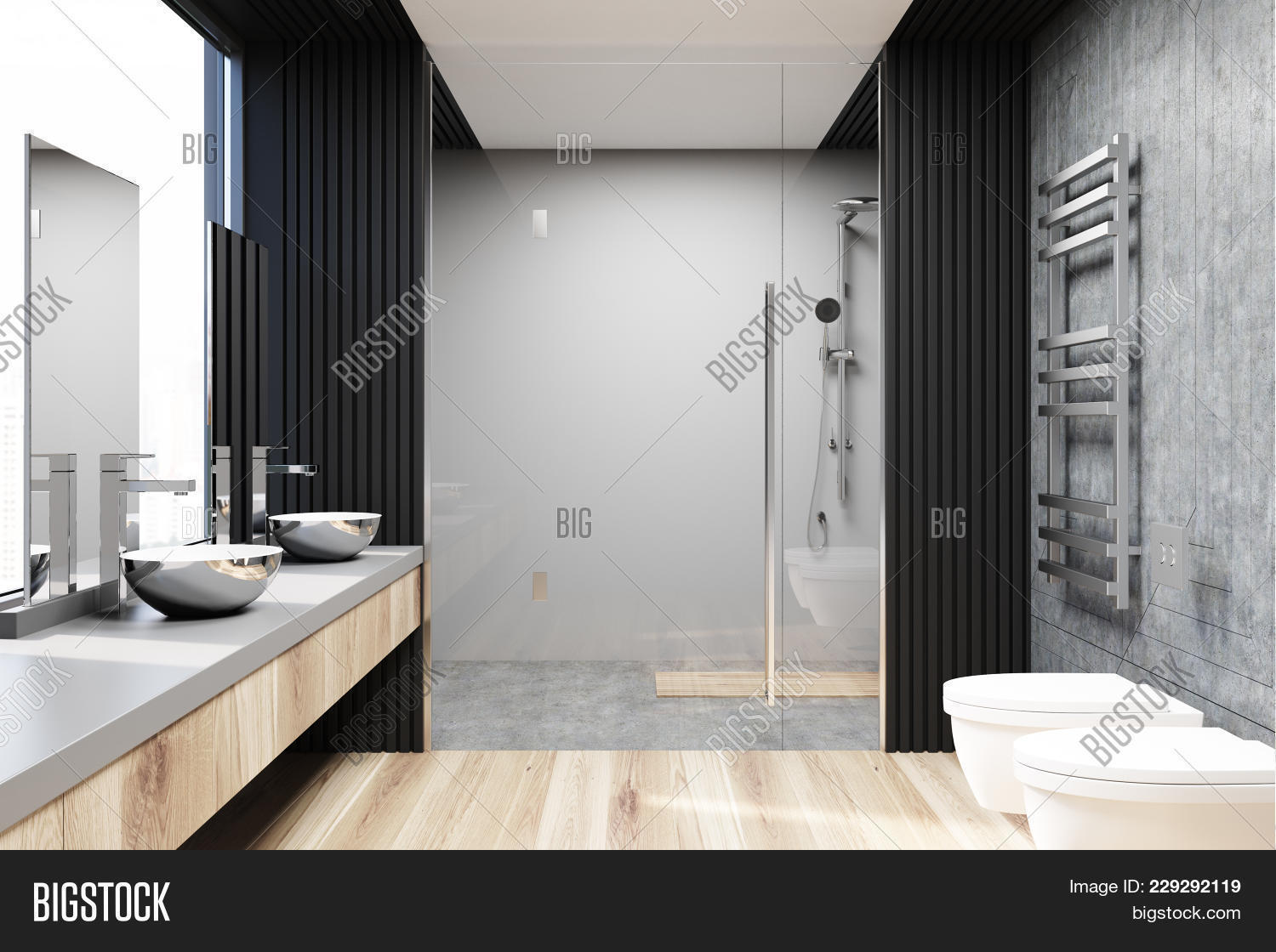 Gray And Concrete Bathroom Interior With A Concrete Floor, A Shower Stall,  A Double