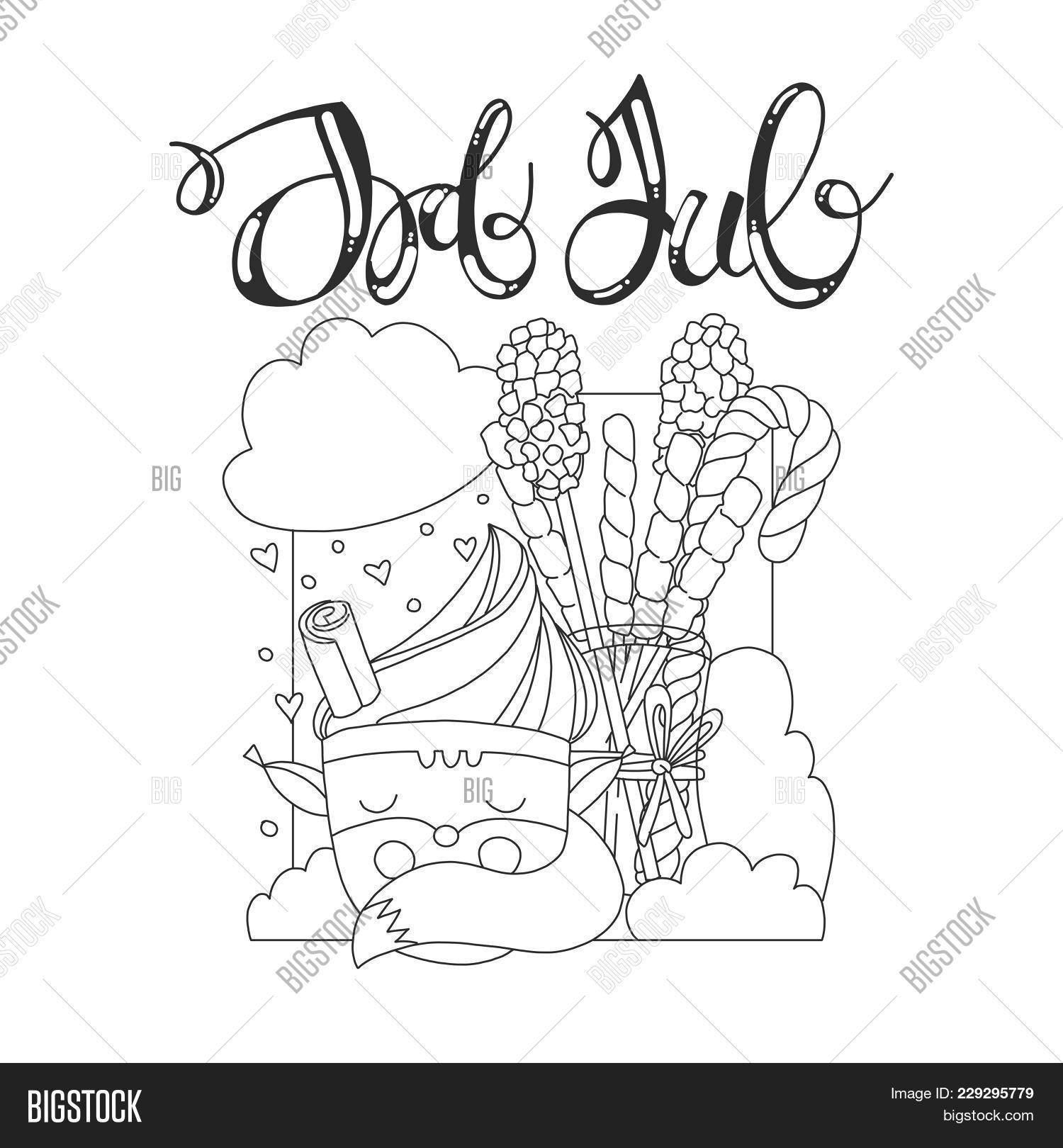 Coloring Page With Christmas Topic Christmas Card With Cartoon Cup In Form Of Fox