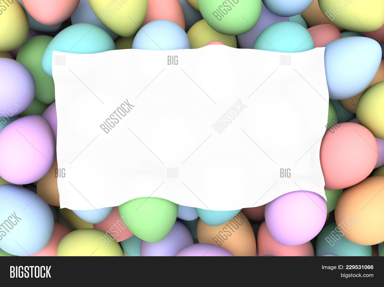 Pile Of Birght And Colorful Easter Eggs With Blank White Space 3d Render