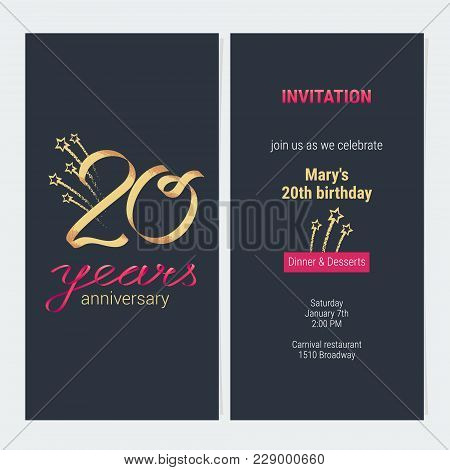 20 Years Anniversary Invitation To Celebrate Vector Illustration. Design Template Element With Golde