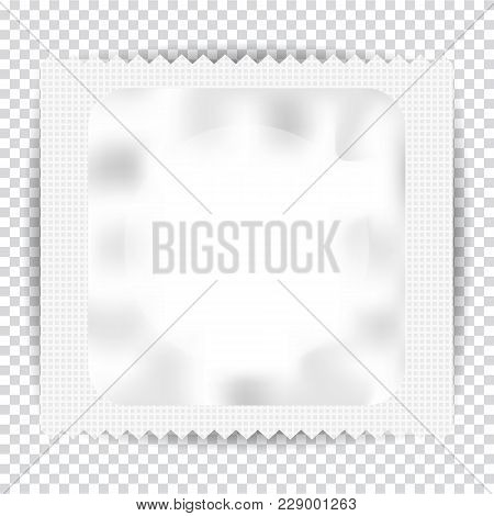 Realistic Condom And Package Isolated On Transparent Background. Vector Illustration.