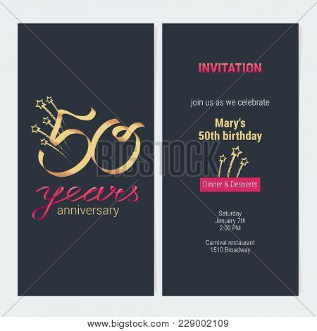 50 Years Anniversary Invitation To Celebrate Vector Illustration. Design Template Element With Golde