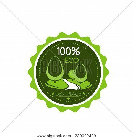 Green Eco Tree Icon Template For Landscaping Design Company Or Urban Horticulture Association Projec