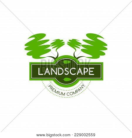 Green Trees Forest Icon Template For Premium Landscaping Design Company Or Urban Eco Horticulture Pr