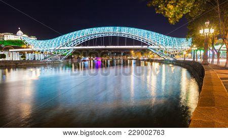 Tbilisi, Georgia - September 16, 2015: The Bridge Of Peace At Night, Bridge Of Peace Is A Pedestrian