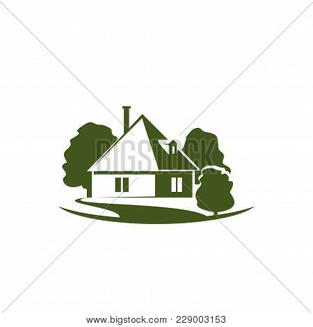 Green Eco Home Icon Of House And Trees For Real Estate And Construction Company. Vector Isolated Fla