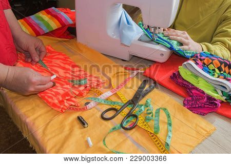 Sewing Still Life: Colorful Cloth. Scissors And Sewing Kit Includes Threads Of Different Colors, Thi