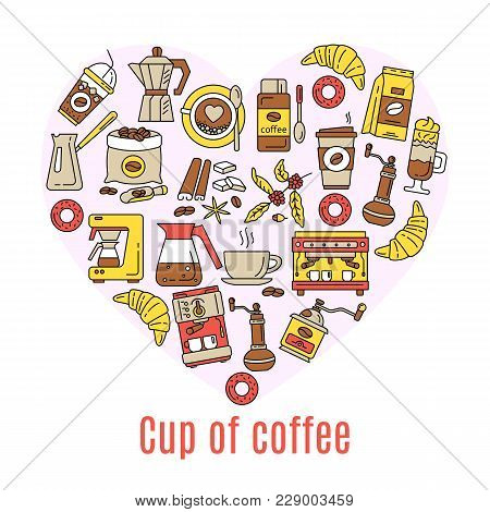 Coffee Flat Line Icons Enclosed In The Shape Of Heart. Simple Set Of Coffee And Tea Related Vector L
