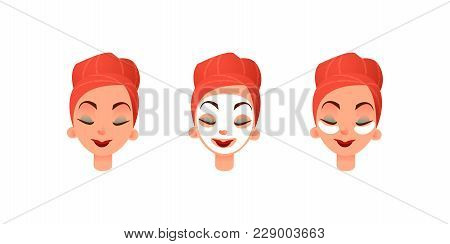 Beautiful Women S Faces. Girl With Purifying Mask And Eye Patches Against Circles Under The Eyes. Fa