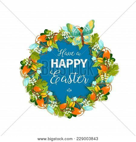 Happy Easter Greeting Card Or Poster For Christian Religious Holiday. Vector Design Of Easter Eggs I