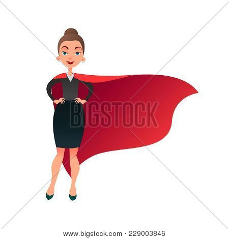 Woman Superhero Cartoon Character. Wonder Woman With Cape Of Super Man. Confident Business Lady Focu