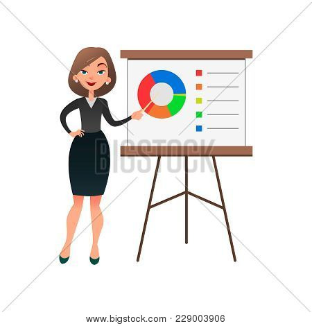 Funny Cartoon Woman Manager Presenting Whiteboard About Financial Growth. Young Businesswoman Making