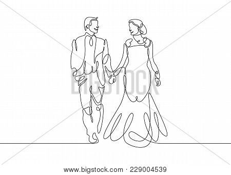 Continuous Line Of Newly Married People Wedding