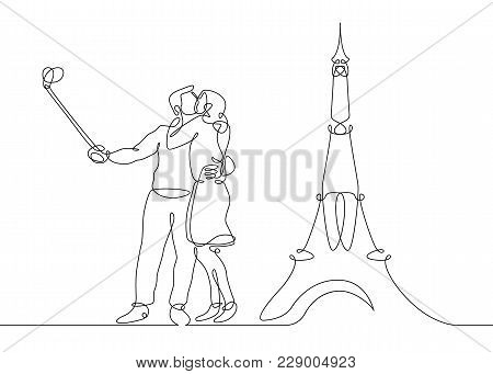 Continuous Line Drawing Of Happy Couple Making Selfie Photo On The Background Of The Eiffel Tower. F